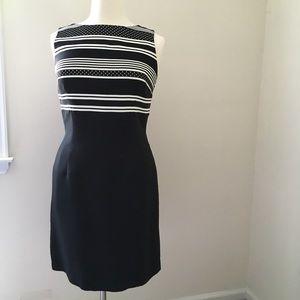 Talbots B&W Silk Sleeveless Sheath Dress 14.